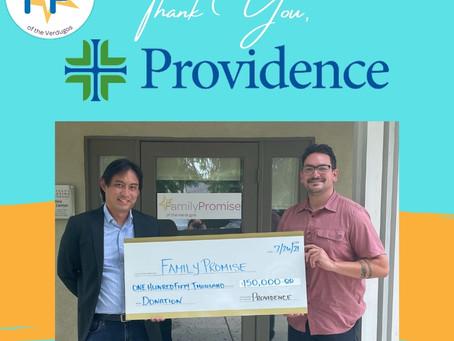 Providence Presents Monetary Donation