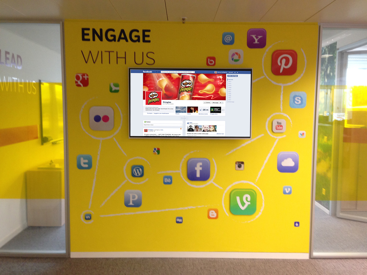 Social Network wall at Kellogg's Headquarters