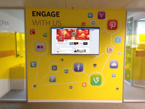 Social Network wall at Kellogg's Headquarters