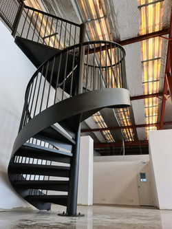Industrial style spiral staircase in Auckland