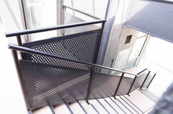 Modern steel balustrade on this exterior staircase in Auckland.