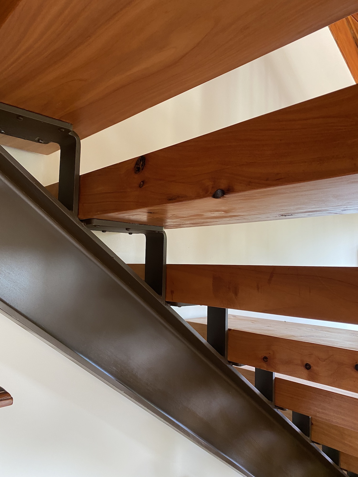 Thick wood used for staircase with steel frame for support