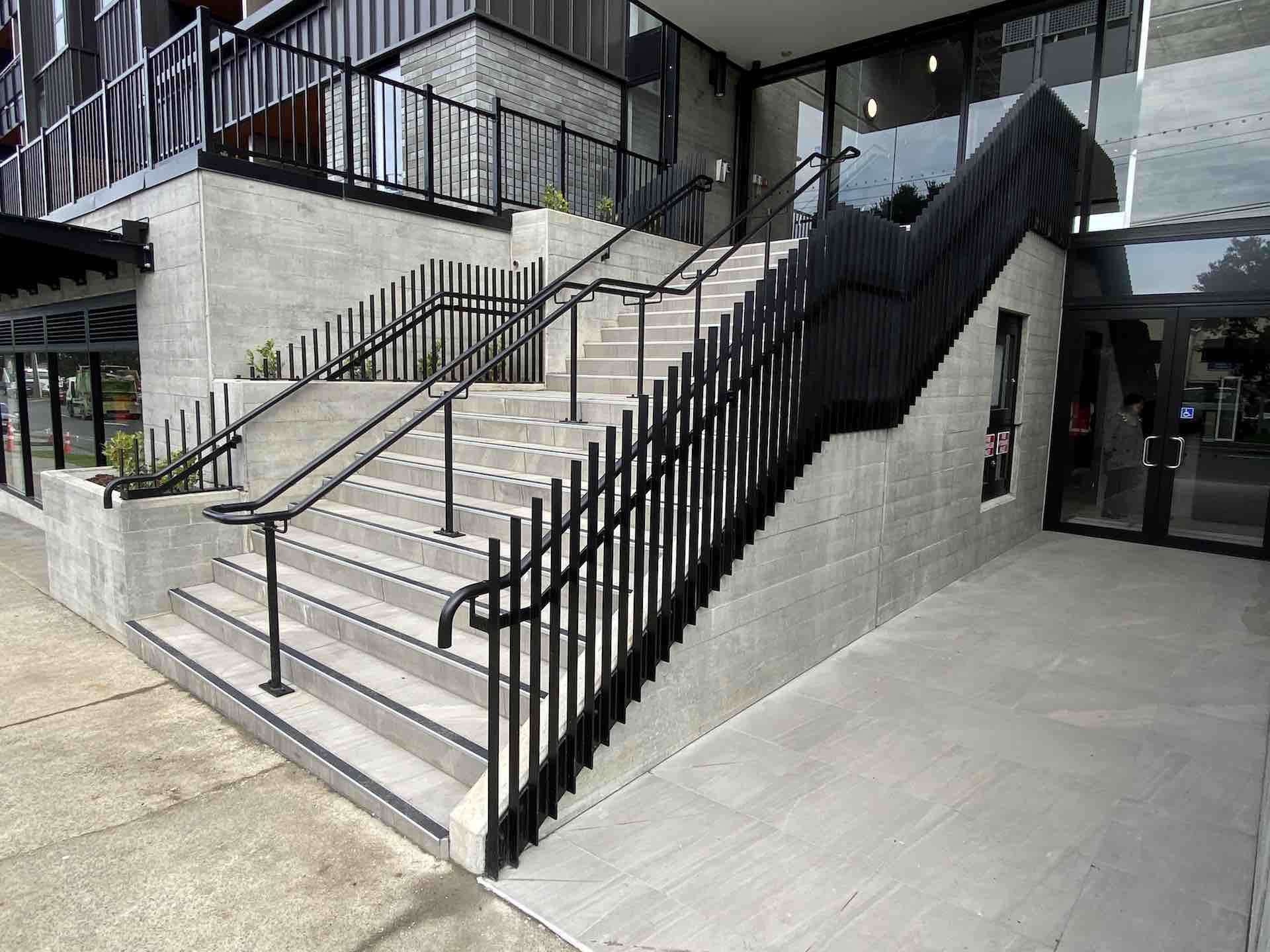 Metal balustrade design on entry staircase