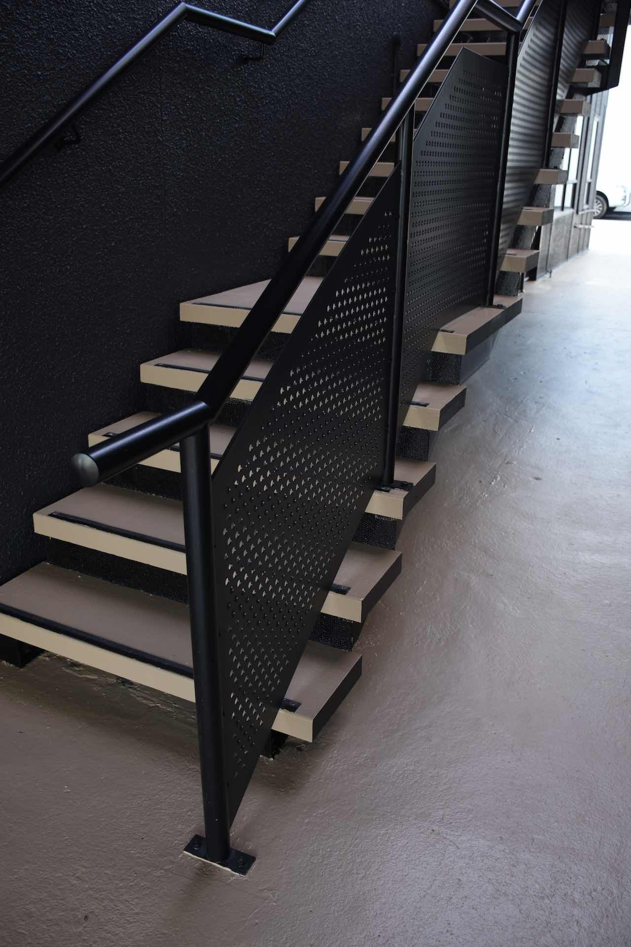 Balustrade maintenance in commercial building in Auckland.
