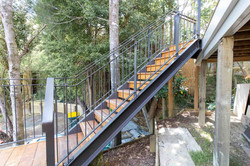Stairworks built exterior stairs with steel balustrades and timber treads in Auckland