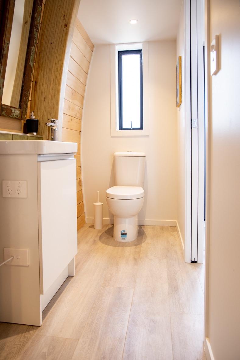 Space saving tiny home bathroom near Auckland
