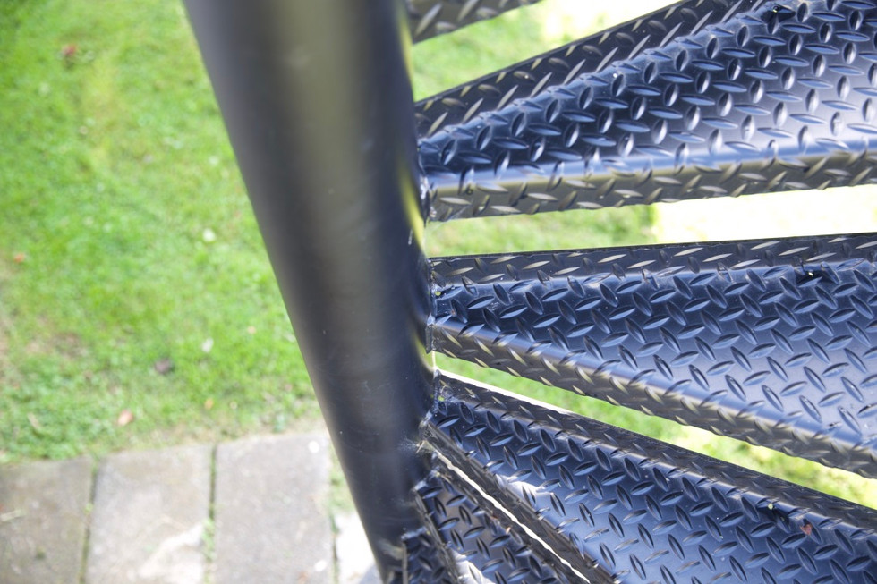 Grip on metal treads is a great feature to add to any outdoor stairs for safety to avoid slipping.