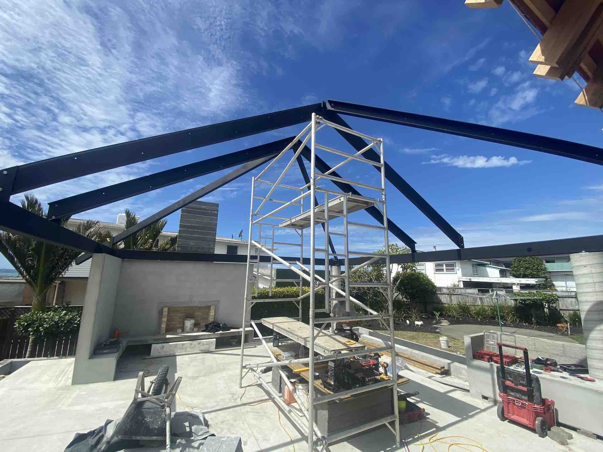 Structural steel hipped roof in Beachlands, Auckland
