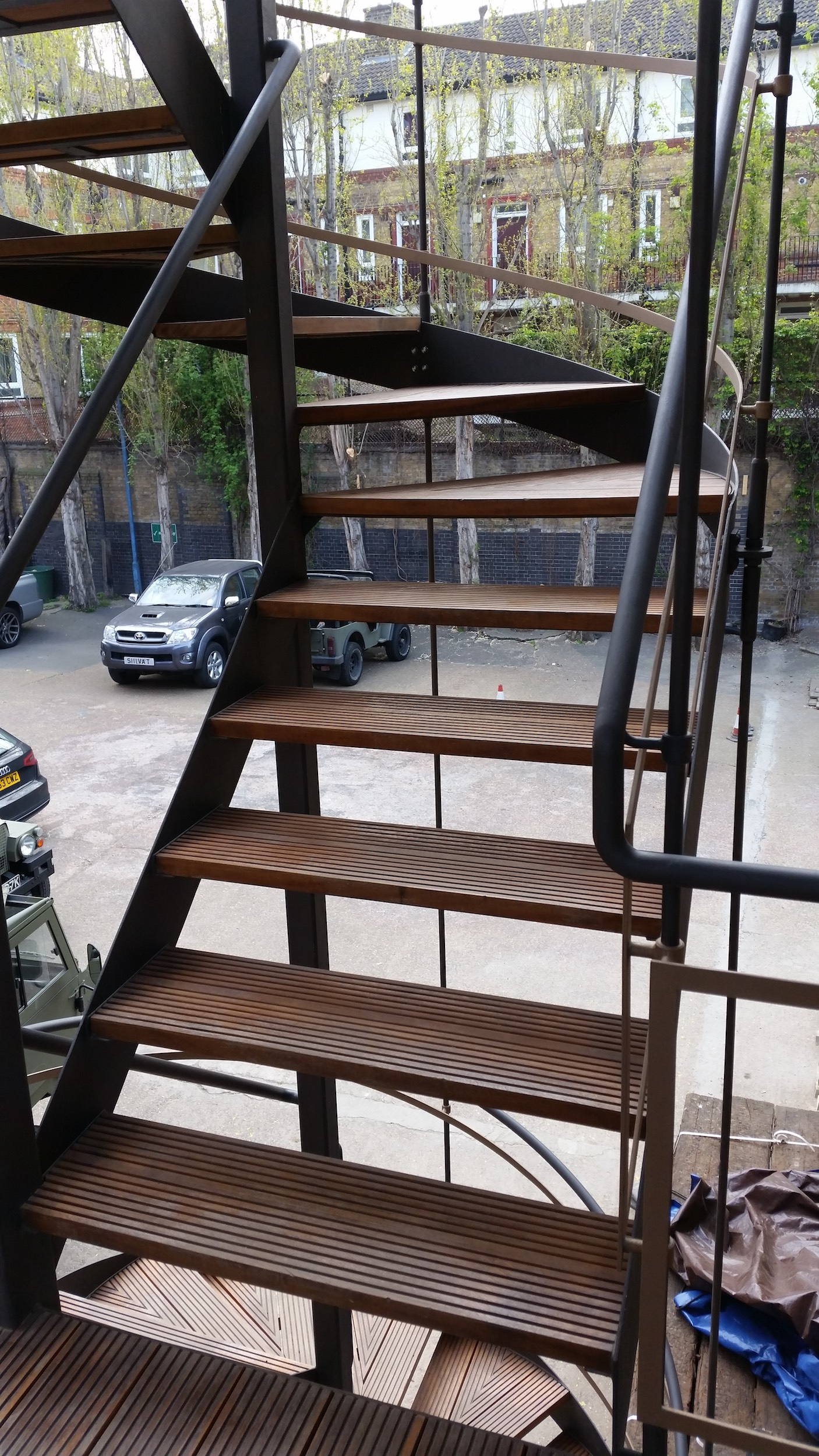 Timber treads and steel railing for external staircase by Stairworks