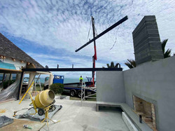 Hiab crane used to bring structural steel to project site in Auckland