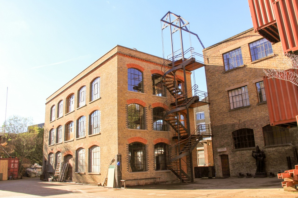 Fire escape spiral metal stairs built by Stairworks