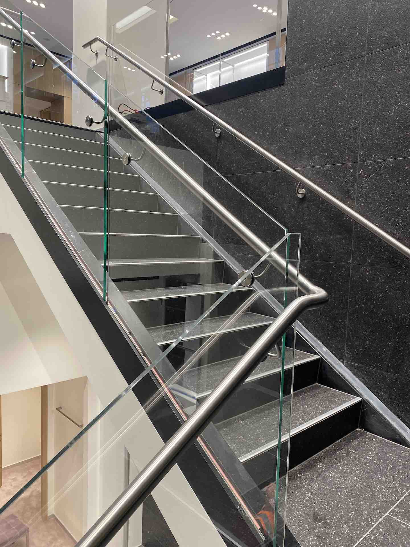 Glass balustrade on commercial staircase in Auckland