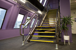 Metal stairs with steel landing built by Stairworks in Auckland