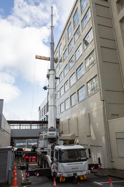 Stairworks utilised a crane to bring all structural steel through penthouse window in Auckland