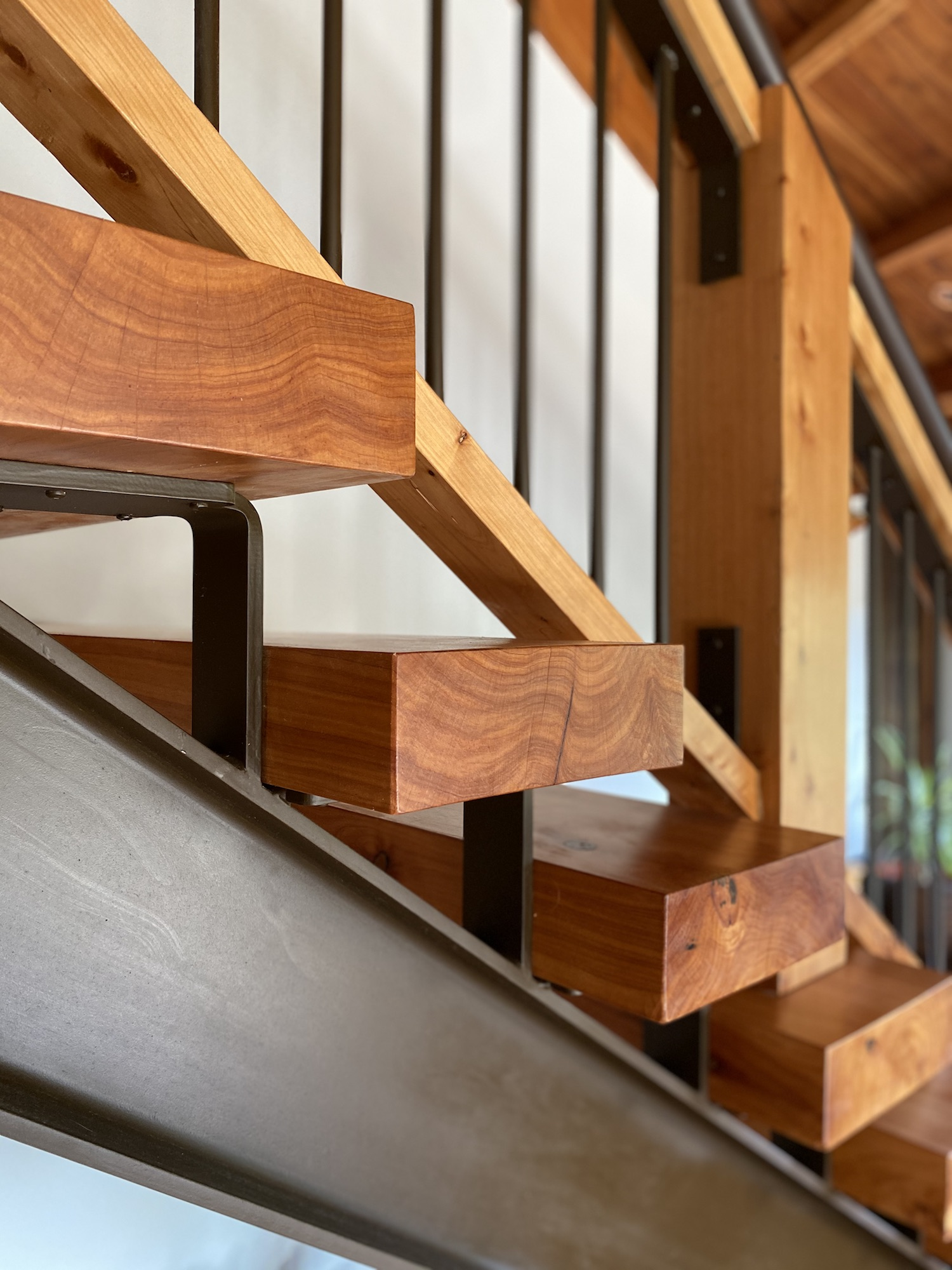 Steel frame for wooden staircase built by Stairworks in Auckland