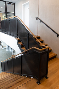 This nz handrail system is made of wood and metal