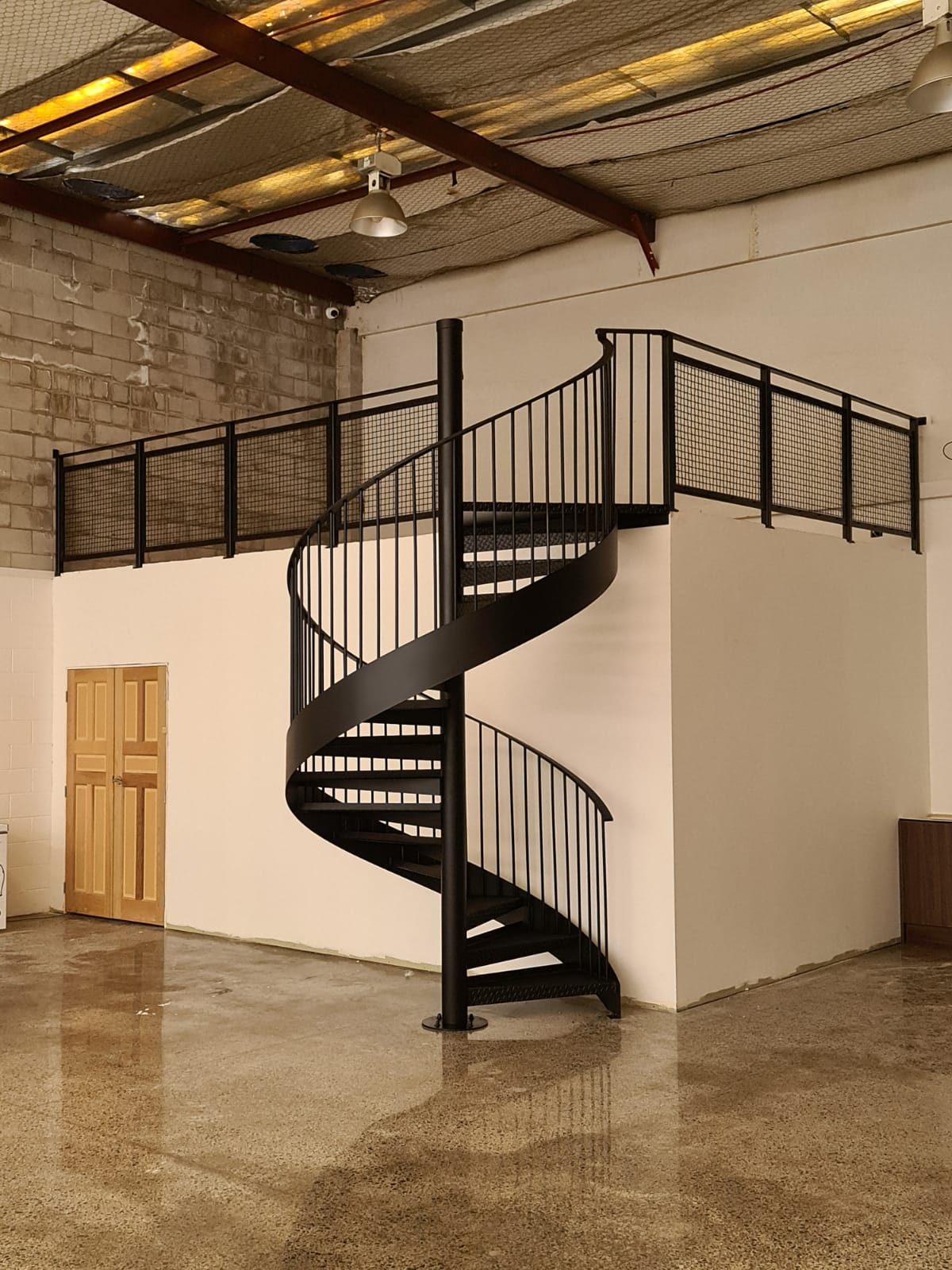 Industrial style spiral stairs in New Zealand