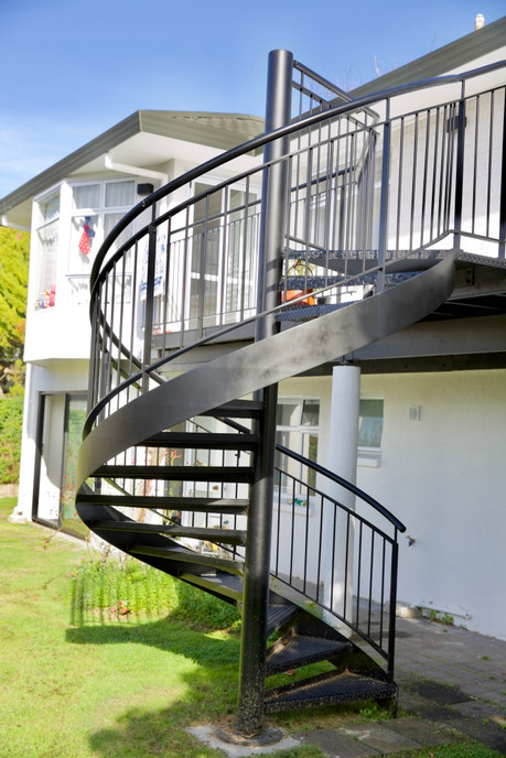 Steel spiral staircase built by Stairworks.