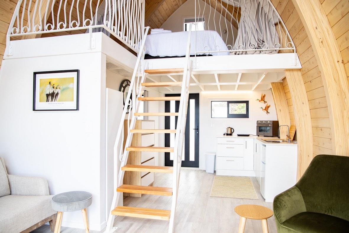 Tiny home staircase on Waiheke Island outside of Auckland, New Zealand