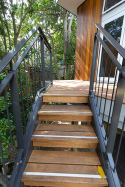 Outdoor steel stairs with timber treads built by Stairworks