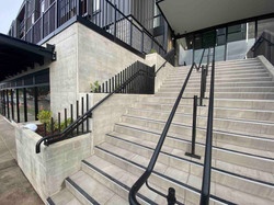 Exterior stairs with metal balustrade and handrails in Auckland
