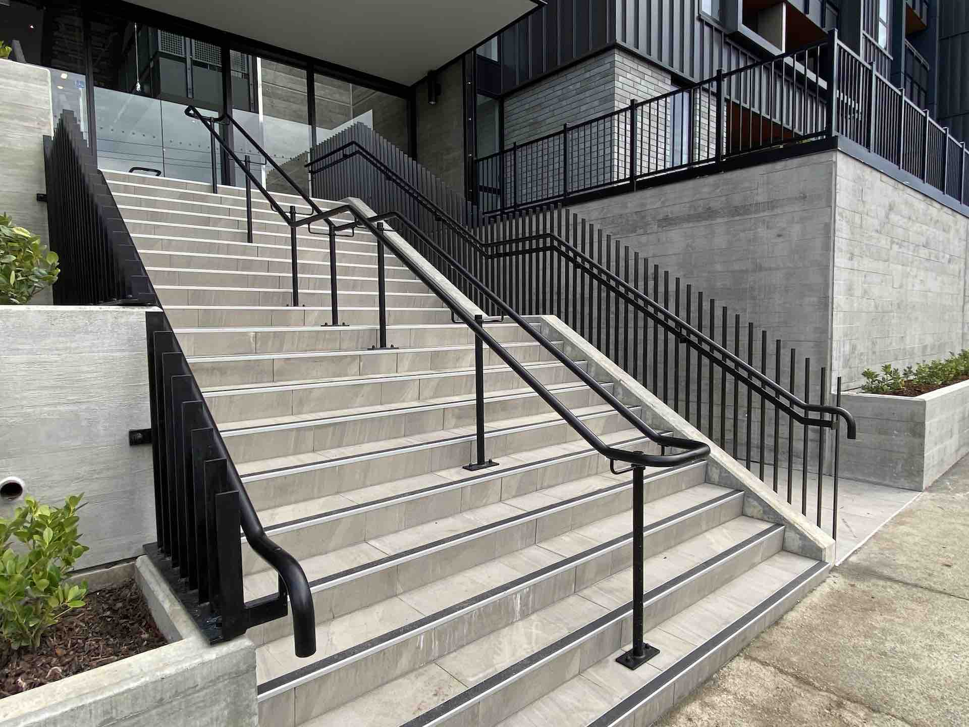 Metal handrail on exterior staircase in Auckland