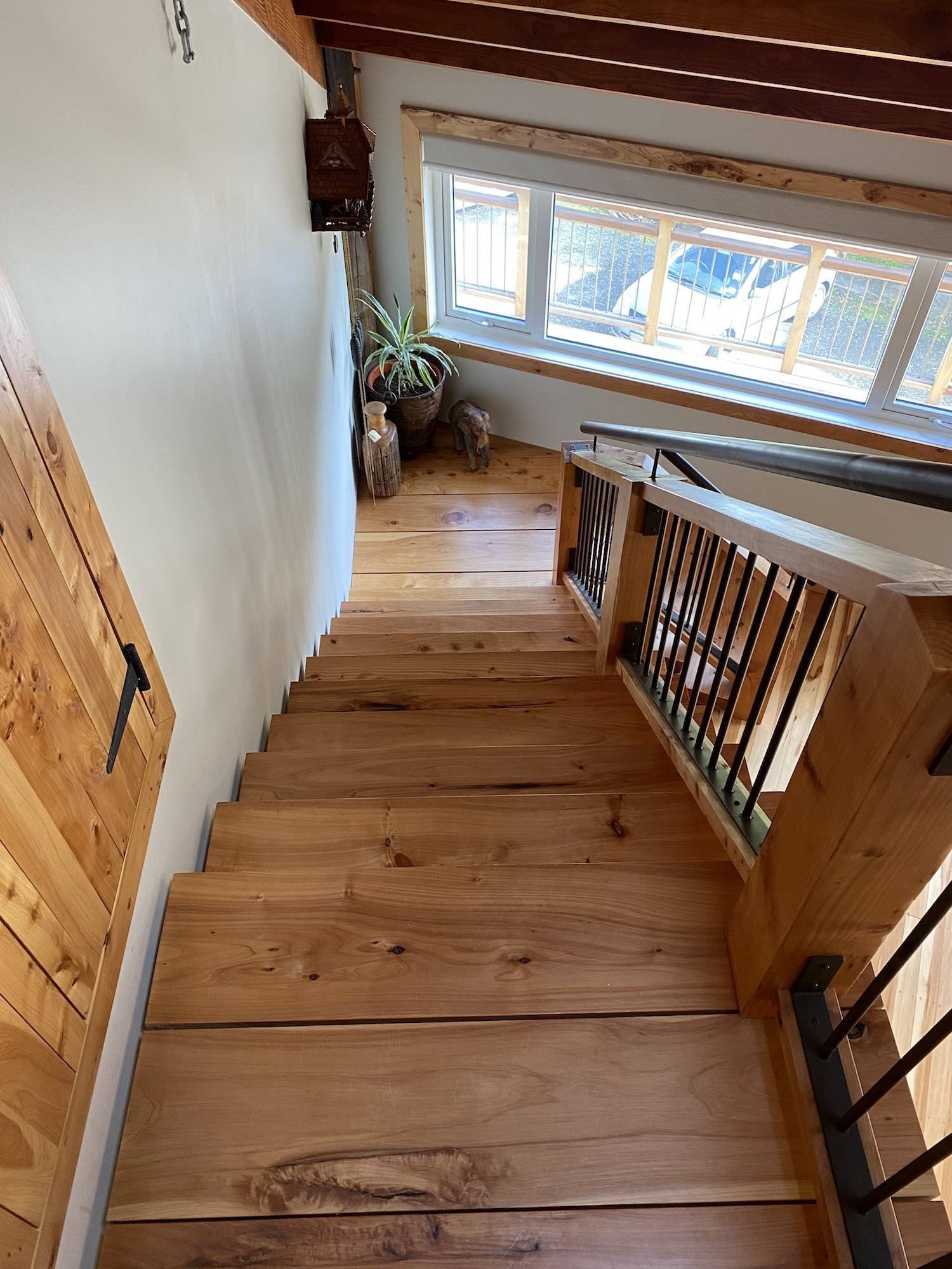 Wooden stairs used in this rustic stair design in Auckland