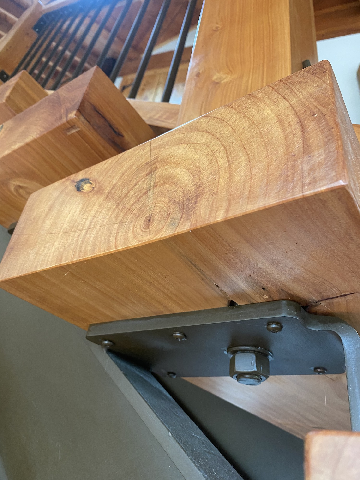 Chunky oak stairs in rustic style staircase in Auckland