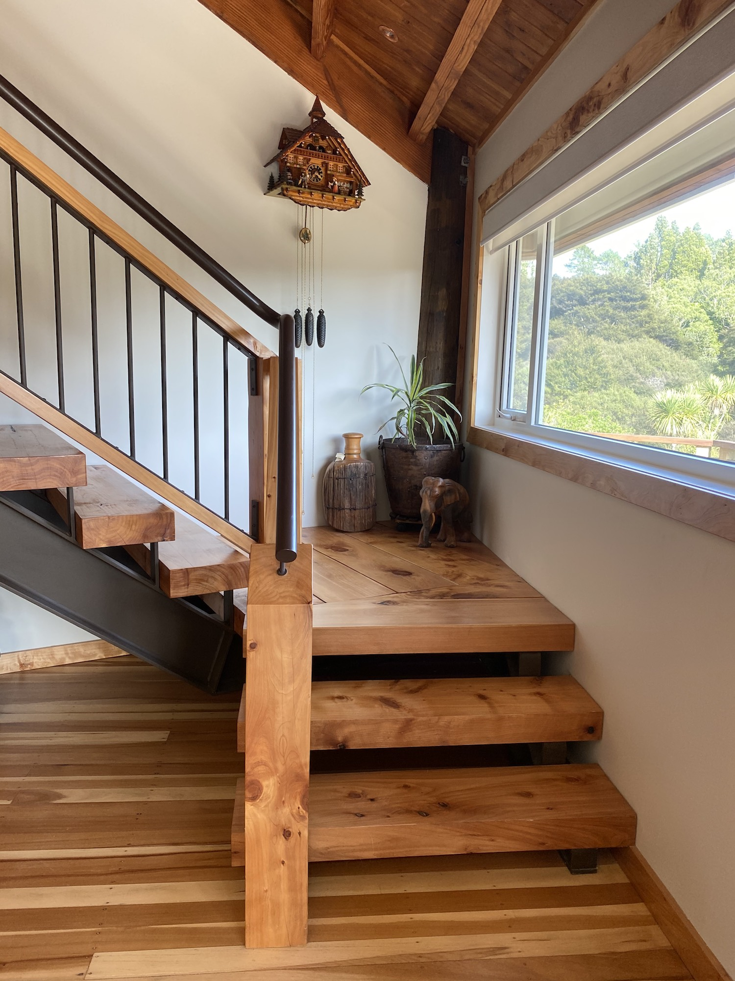 Metal railing and balustrade used on wooden stairs to give it an industrial look