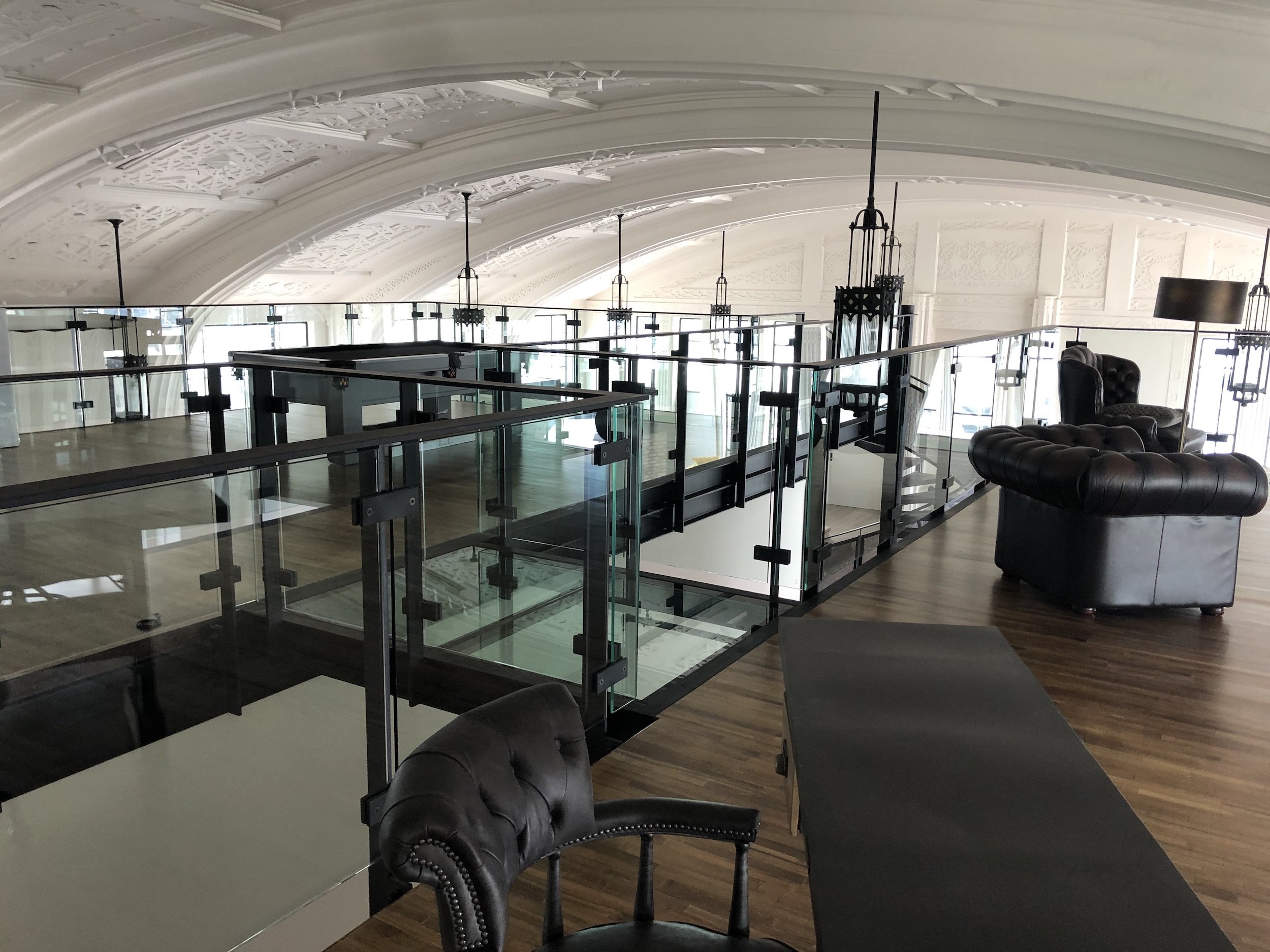 Industrial style glass and steel balustrades designed and built by Stairworks in Auckland