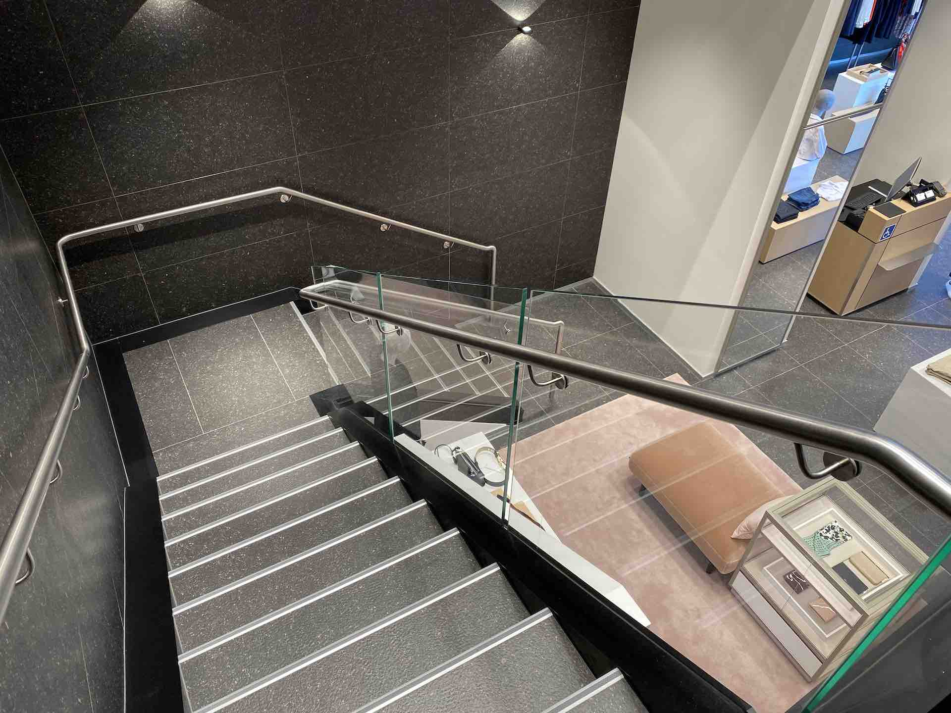 Metal handrail on beautiful staircase in Auckland