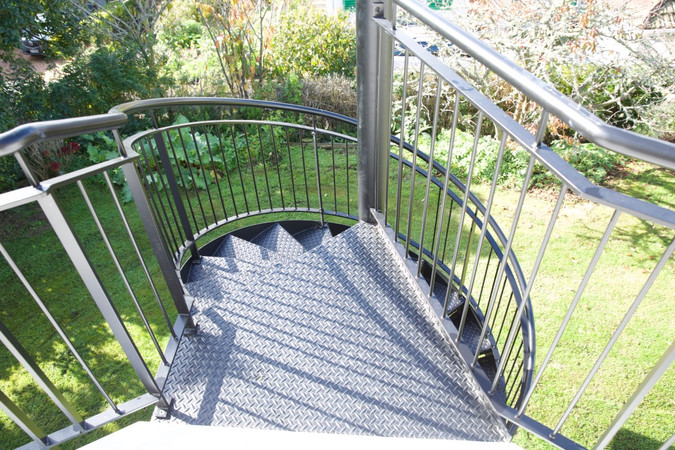 Grip tread is a great safety feature to add to your exterior staircase.