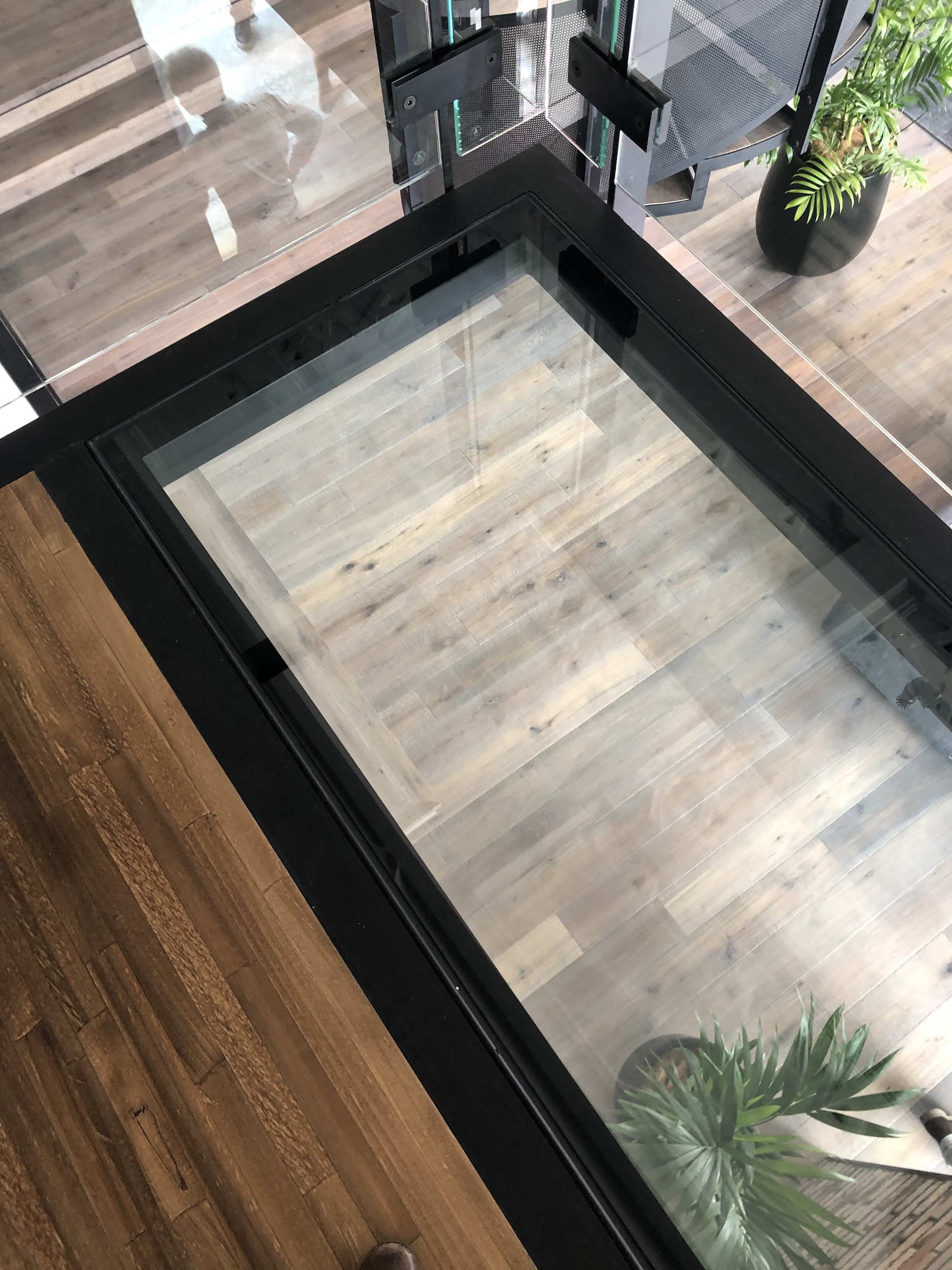 Structural steel and glass and timber treads on mezzanine by Stairworks