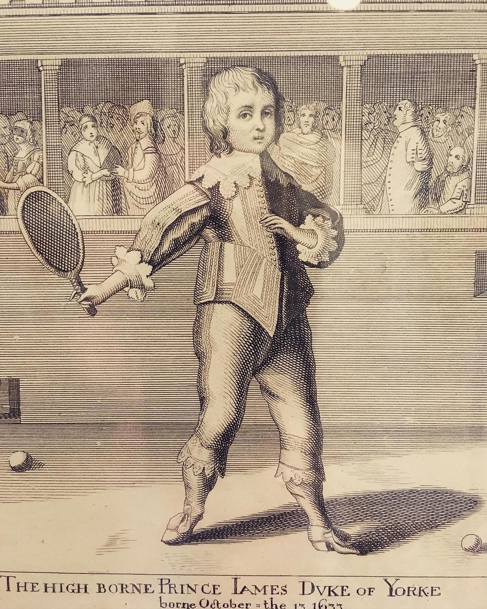 1800s Print of Prince James, Duke of York, Playing Tennis