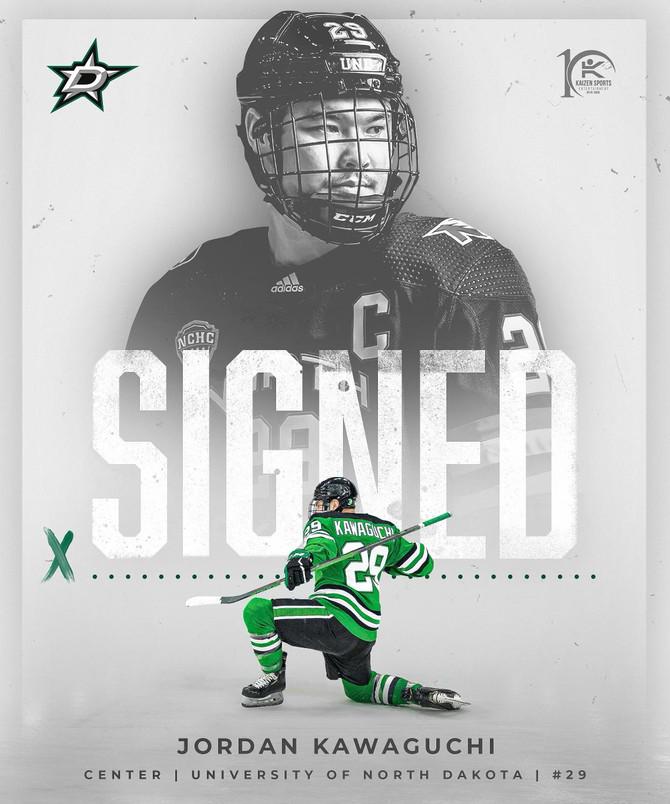 Jordan Kawaguchi Signs NHL Entry Level Contract with the Dallas Stars