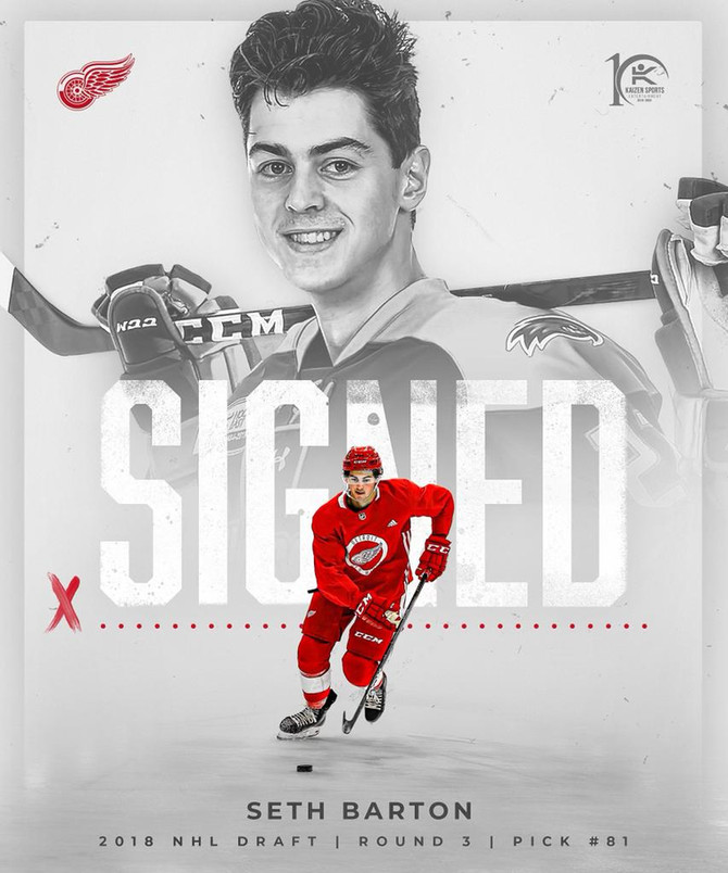 Seth Barton Signs NHL Entry Level Contract with the Detroit Red Wings