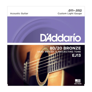 Daddario Guitar Strings 80/20 Bronze EJ13