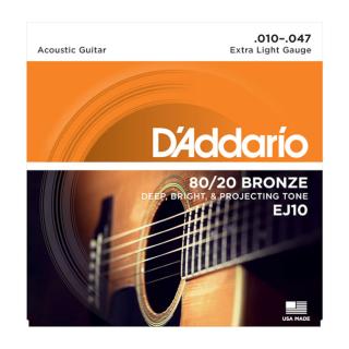 Daddario Guitar Strings 80/20 Bronze EJ10