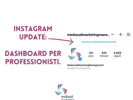 Instagram sempre più professional! Arriva la dushboard professionale.
