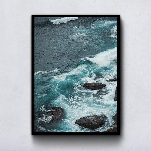 Marbled blue ocean