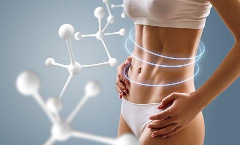 Woman with perfect body near big molecul