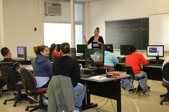 Volunteer Chantell Hawkins teaching ESL Class – Level II