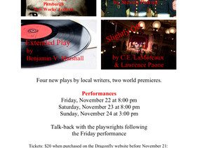 Short Plays with Plainfielders, Please support your neighbors November 22-24 Friday, Saturday &