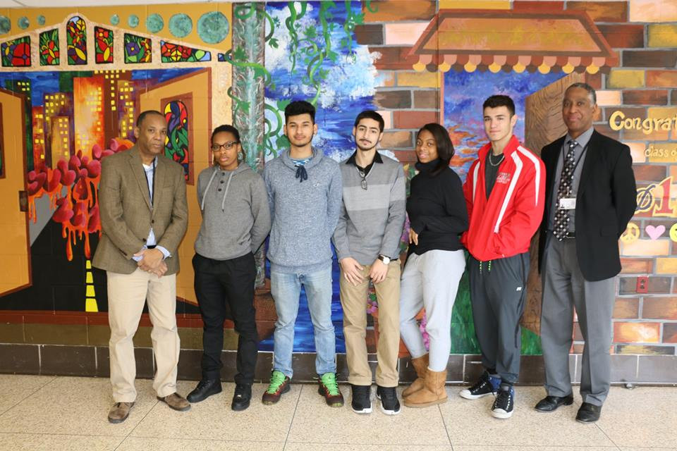 Photo Attached of Members of Student Council: (L-R) Mr. JefferyTruitt, Advisor, Jurnea Johnson, Benjamin Borrayo, Justin Cooper, Kenar Meyers, Antony Nuñez, President of the Student Council, Dr. Phillip Williamson, Principal of Plainfield High School.