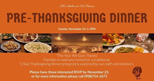 Charity Pre-ThanksGiving Dinner Sunday Nov 24 2019 at 01:00 pm Please support