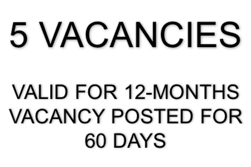 5 VACANCIES... ADVERTISED FOR 60 DAYS