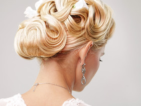Beautiful bride with fashion wedding hai
