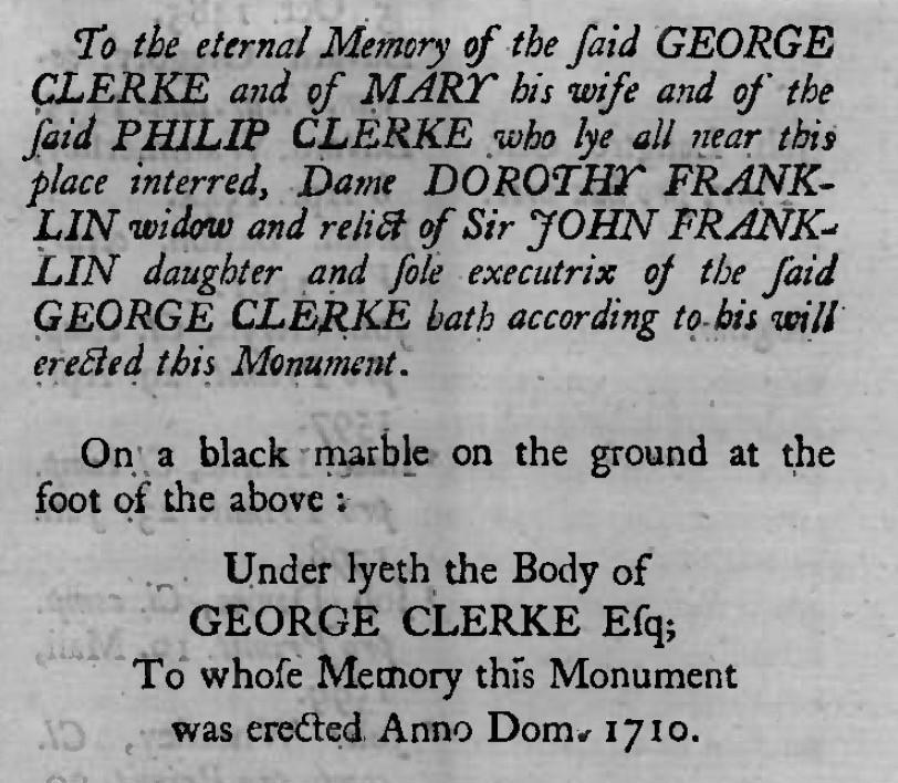 Memorial to George Clerke in Watford church
