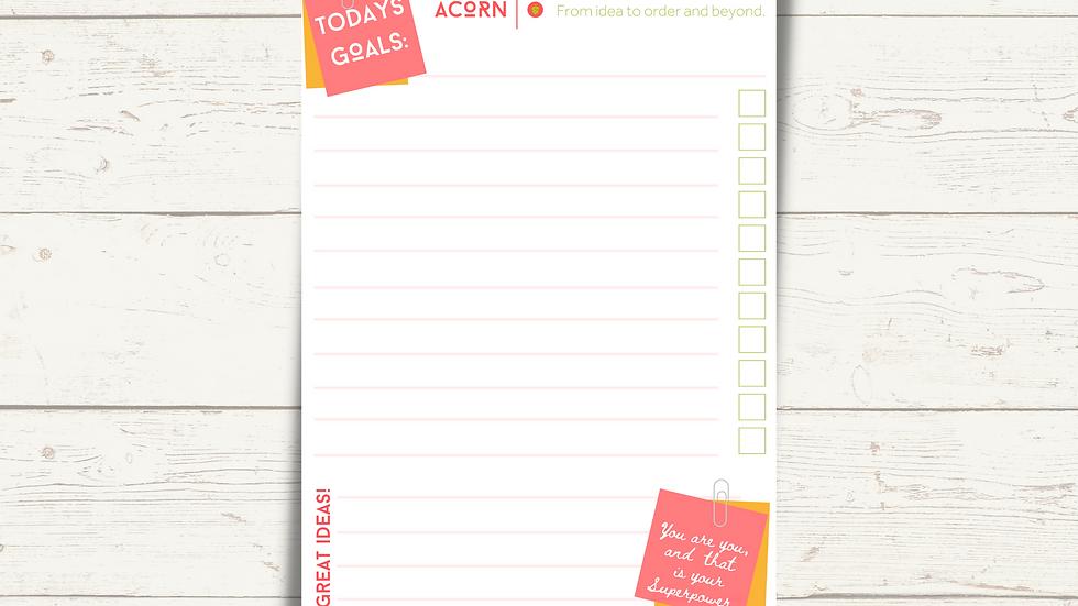 Acorn Todays Goal Pad (A5)