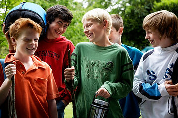 Five Boys gathered together having a laugh